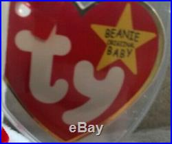 RARE 1993 PVC Valentino Bear Ty Beanie Baby with Brown Nose & Multiple Errors