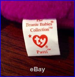 RARE 1993 Patti Platypus TY Beanie Babies Baby MINT PVC Pellets 4025 Original 9