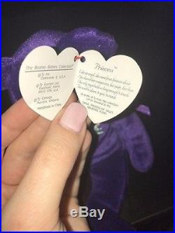RARE 1st Edition 1997 TY Princess Diana Beanie Baby, Made in China, P. E Pellets