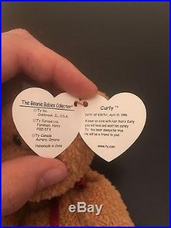 RARE 5 ERRORS Curly Beanie Baby 1996  69f13d97922