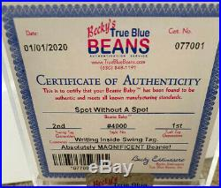 RARE Authenticated TY 2nd gen SPOT Without A Spot Beanie Baby 2nd hang/ 1st tush