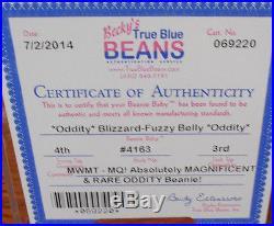 RARE Authenticated Ty MWMT-MQ Fuzzy Belly Blizzard Oddity Beanie Baby