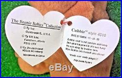 RARE Cubbie The Bear 1993 RETIRED Original 9 TY Beanie Baby PVC TUSH INK ERROR