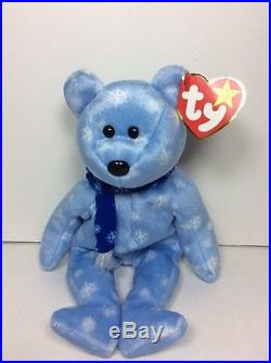 a9dfee3ca8e RARE ERRORS TY Beanie Babies Baby ICE BLUE SNOWFLAKE 1999 HOLIDAY TEDDY BEAR  NWT