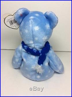 RARE ERRORS TY Beanie Babies Baby ICE BLUE SNOWFLAKE 1999 HOLIDAY TEDDY BEAR NWT