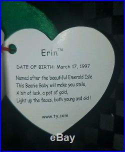fe52ae26d1e RARE FIRST EDITION 1997 ERIN TY BEANIE BABY MINT CONDITION WithTAGS AND TAG  ERRORS