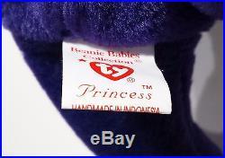 RARE INDONESIA! 1st EDITION PVC PRINCESS (Diana) Bear Ty Beanie Baby MINT