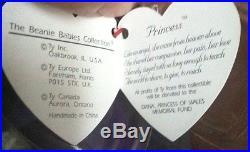 Rare! Look! Ty Beanie Baby 1997 Princess Diana Pvc China Free Shipping