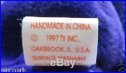 RARE MINT With TAGS PRINCESS DIANA Ty BEANIE BABY BEAR 1997 P. E. PELLETS CHINA