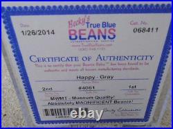 RARE MWMT MQ! Authenticated TY 2nd gen Gray Happy Beanie Baby