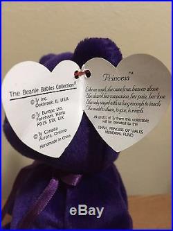 RARE NO ROSE MINT Authentic Princess Diana 1997 Retired TY Beanie Baby P. E