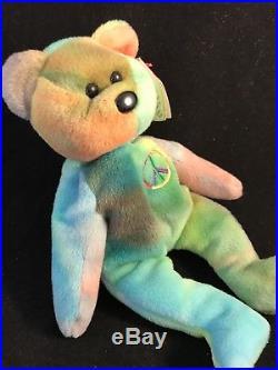 RARE PVC Peace Bear 1996 Retired Ty Beanie Baby Genuine MINOR Errors