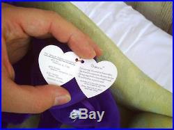 RARE Princess Diana Ty Beanie Baby Buddy Lot Retired 1997 Mint Purple