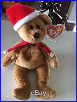 RARE! RETIRED! Ty Beanie Baby 1997 Holiday Teddy Bear 1996- Style  4200 ce0c37413518