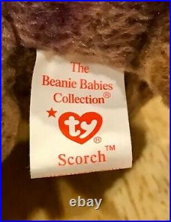 RARE Scorch the Dragon TY Beanie Baby Retired Mint Condition with tag ERRORS