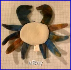 RARE TY Beanie Baby, Claude the Crab, Mint Condition, 1996 PVC Pellets