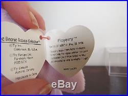 RARE TY Floppity Beanie Baby Misprinted Gold Tag Errors 1996 Purple Bunny Rabbit
