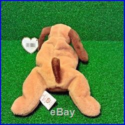 RARE Ty Beanie Baby BONES 1994 Retired PVC Plush Toy Dog With Tag Errors MWMT
