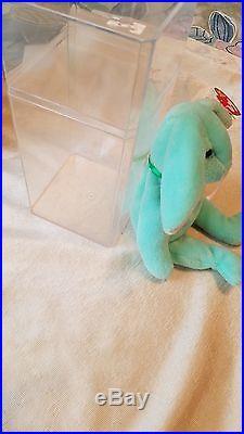 RARE-Ty Hippity Rabbit Beanie Baby- Misprinted-Tag Errors 1996 Green Bunny