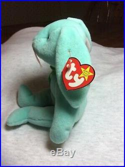 RARE-Ty Hippity Rabbit Beanie Baby- Misprinted-Tag Errors 1996 Green Bunny & PVC