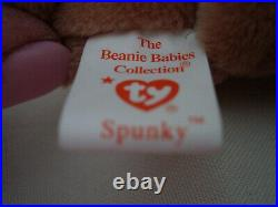 RARE VINTAGE TY Beanie Baby Spunky the Cocker Spaniel 1997 Retired ERRORS