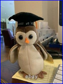RARE VINTAGE TY Beanie Baby Wise the Owl Class of 1998 with errors collectible