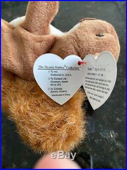 RETIRED ORIGINAL Ty Beanie Baby NUTS the Squirrel With FACE & TAG ERRORS RARE PVC