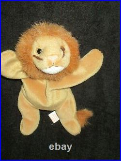 RETIRED Ty Beanie Baby ROARY LION 7 ERRORS With Tags RARE MINT- PVC PELLETS