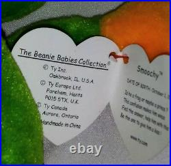 RETIRED Ty Beanie Baby SMOOCHY FROG P. V. C. ERRORS With Tags RARE MINT