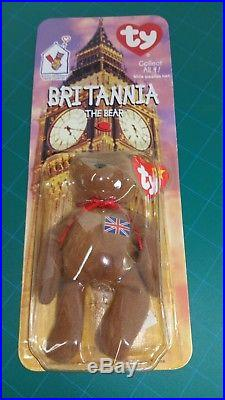Rare Both Errors Mcdonalds TY Beanie Baby Britannia The Bear New Sealed