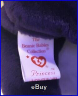 Rare Collectible Ty Beanie Babies Princess (Diana Bear) 5 swing Tag Errors