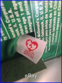 Rare Errors Nib Erin The Bear Ty Beanie Babies Plush Ronald Mcdonald Charities