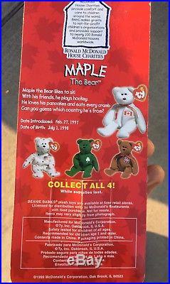 Rare Errors Nib Maple The Bear Ty Beanie Babies Plush Ronald Mcdonald Charities