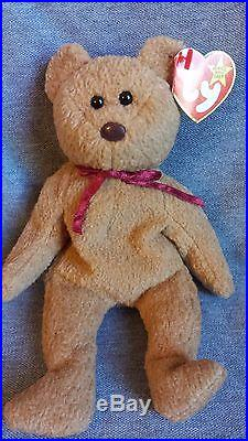 0b06a4c93ac Rare MINT TY Curly Bear Beanie Baby Made in China Errors Both Tags Beanie  Babies