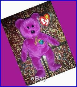 Rare Millenium Ty Beanie Baby Bear 1999 Pe Retired Millennium Gasport No Stamp