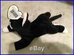 Rare Older Ty Beanie Baby Zip the Cat with errors, taped star