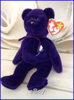 Rare Princess Diana Bear Beanie Baby PVC No Space Made In China 1st Edition
