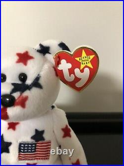 Rare Retired Glory Beanie Baby Bear with Numbered Tush Tag and Tag Errors