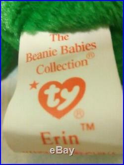 Rare, Retired Irish Erin Shamrock'TY' 1997 Beanie Baby ERRORS 1993 Value 1K