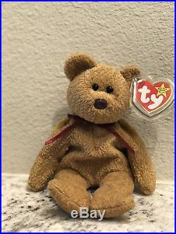 Rare Retired Ty Beanie Baby'Curly' Bear 1996 With Tag Error Gently Used