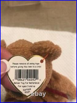 Rare Retired Ty Beanie Baby Curly The Bear Tag Errors New Mint Condition