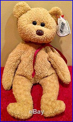 Rare Retired Ty Beanie Baby'Curly' The Bear With Errors