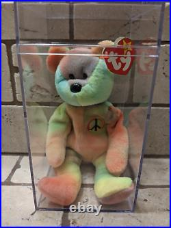 Rare Retired Ty Beanie Baby Peace The Bear With Multiple Errors