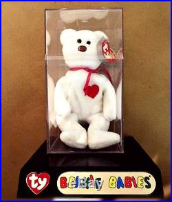 Rare Retired Valentino Ty Beanie Baby NWT Errors Tags, PVC, Brown Nose Mint