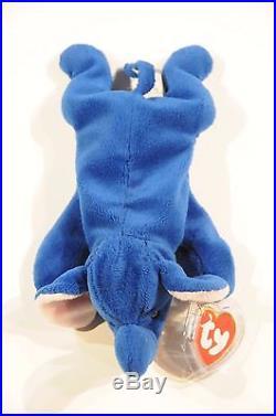 Rare Royal Blue Peanut Beanie Baby 1995 Style 4062 PVC Pellets