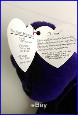 Rare TY Beanie Baby 1st Edition Princess Diana Made in Indonesia No Space PVC