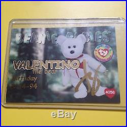 Rare TY Beanie babies Trading card signed autographed Gold Valentino 1/1