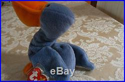 Rare TY Original Beanie Babies Scoop The Pelican Errors- #4107-Retired