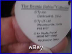 Rare Ty Beanie Baby Babies 1996 Doby Doberman Dog 15 Errors Pvc Pellets Retired