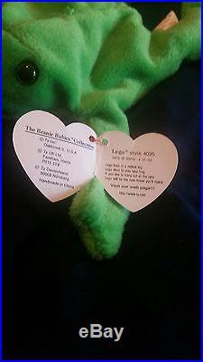Rare Ty Beanie Baby Original Legs Frog Tag Errors Dob Numerical 4-25-93 Pvc